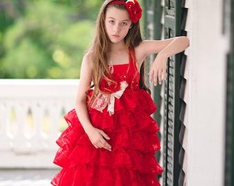 Princess Dress, Flower Girl Dress, Cupcake Dress, Girls Ruffle Dress, Girls Floral Dress, Christmas Dress, Valentine Dress, Vintage Dress