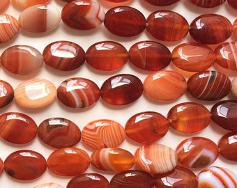Natural Red Striped Agate 14x12mm Flat Oval Gemstone Loose Beads
