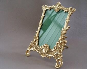 Art Nouveau, Vintage, photo frame, Brass photo frame, picture frame, pure brass, brass decor, brass ornament, brass display item