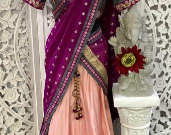 3pc Cotton Silk Chaniya Choli/ Lengha Choli/Half Sari