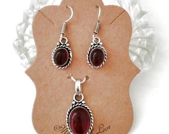 Garnet Quartz Pendant and Matching Earrings