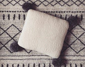 Crochet knitted Cushion with Pom Poms, Handmade Merino wool Knitted Cushion