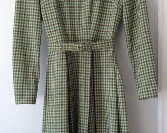 1960s Vintage Wool Longsleeve Dress with Matching Belt