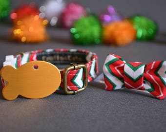Christmas cat collar, bow tie & pet tag gift set - breakaway cat collar - kitten collar - Christmas eve box fillers - fancy cat bow tie