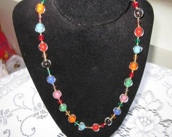 Vintage 1950's Venetian Multi Colored Glass Bead Necklace   Stunning!