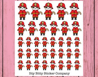 Firefighter Mauly - Hand Drawn IttyBitty Kitty Collection - Planner Stickers