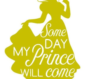 Disney's Snow White Vinyl Decal | Some Day My Prince Will Come | Disney Princess | Yeti Cup | Car Window Sticker | Laptop |