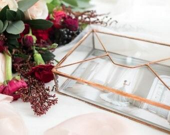 Glass Photo Box - Wedding Photo Box Jewelry Newlywed Gift Ring Small Geometric Letter Holder photography card holder card box reception