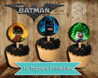 Batman, Lego Batman, Lego Batman Toppers , Batman Birthday , Lego Batman Party, Cupcake Toppers, instant download