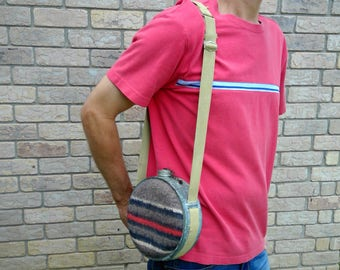 Vintage Galvanized Metal and Wool Canteen with Shoulder Strap