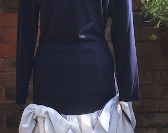 1980's  Berryhaw navy blue and white dress size 10