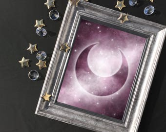 Crescent Moon Symbol Art Print | Metallic Luster Photo Print | Planetary Guardians