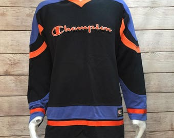 Rare Vintage Champion Spell Out Hockey Style V-neck Sweatshirt