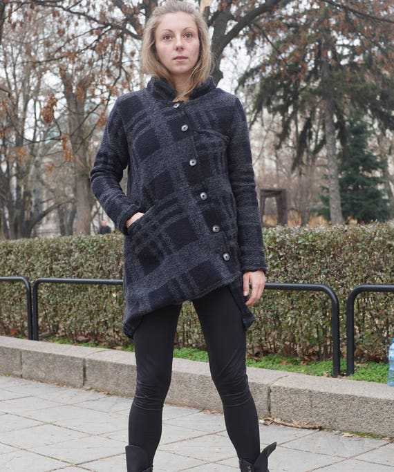 Extravagant Wool Coat, Asymmetric Warm Gardigan, Lagenlook Plaid Jacket, Black Cotton Lining Coat