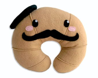 Croissant plushie, French croissant, mustache, beret, pillow, cushion, stuffed croissant toy, breakfast toy,Kawaii plush, food toy, pastry