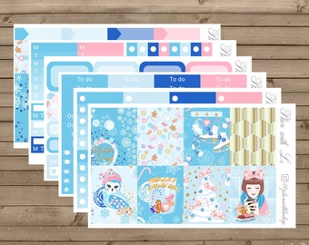 Winter Wonderland Sticker Kit | Erin Condren Sticker Kit | Winter Sticker Kit | 6 Page Sticker Kit | Weekly Sticker Kit