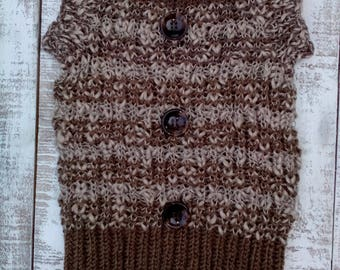 Large Dog Sweater, Clothing for Dog, Kniting for Pets, Brown  Handknit Dog Sweater, Knit Dog Coat, Knit Petwear