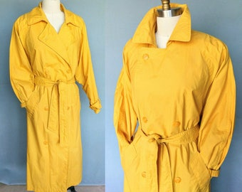canary / 1980s bright yellow belted trench coat / flexible size medium large petite