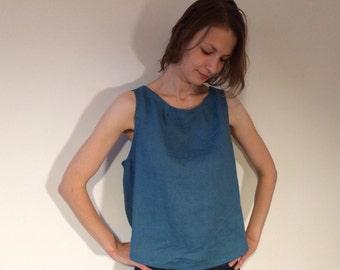 Blue Linen Blouse, Linen Top, Linen Shirt Women, Summer Blouse,  Sleeveless Blouse, Plus Size Linen Blouse, Loose Linen Shirt, Loose Blouse