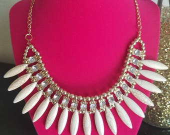 Truly Vintage and One of a Kind! 1970's Fashion/Disco/Festival/Formal Bib Necklace with Faux Horn Beads and Rhinestone Crystals! Adjustable!