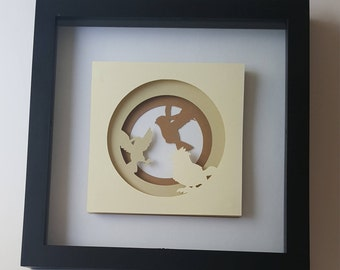 16-18 Pidgey Evolution Inspired Silhouette Papercraft in 8x8 Frame