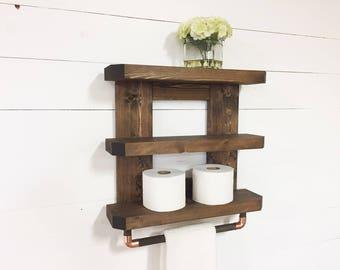 Wooden Bathroom Shelf, Rustic Bathroom Shelf, Wooden Towel Rack, Bathroom Towel Rack, Toilet Shelf