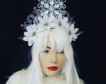 Snow Queen Crown Bridal Crown Ice Queen Crown Winter Headpiece Snow Queen Headpiece