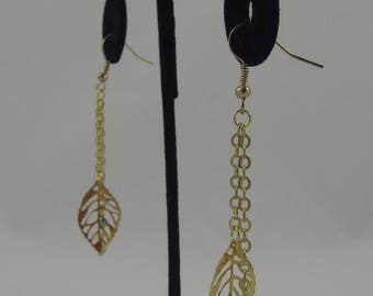 Gold Leaf Earrings with Blue Accents