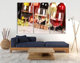 Large 3 Panels Wall Art Photograph Canvas Print - Three Glasses of Different Wines on Canvas, Housewarming Gift, Modern Home Decor
