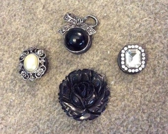 Set of Four Refrigerator Magnets Crafted From Vintage Jewelry