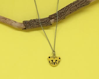 Handmade Cheetah necklace//original gift//animal necklace//trendy