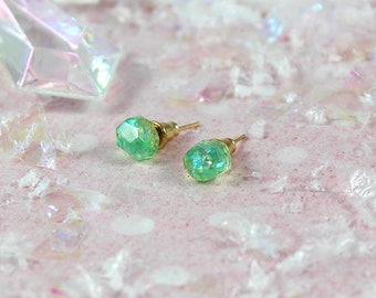 Mint Earrings Iridescent Faceted Resin Stud Earrings Classic Lolita