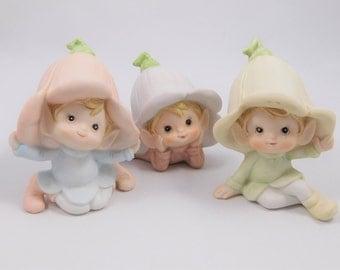 Three Pixie Figurine Set, Homco, Lily Hat, Laying, Bisque, Flower Fairy