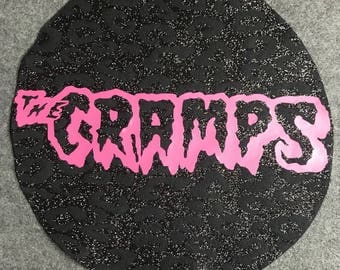 The Cramps-Round-Back Patch- Black Glitter Leopard Print- Pink- Punk Rock- Glam Rock-Rock and Roll- Lux Interior- Poison Ivy-Custom-Unique