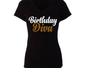 Birthday Girl Diva Womans Black V-Neck Short Sleeve T-Shirt with Gold and White lettering