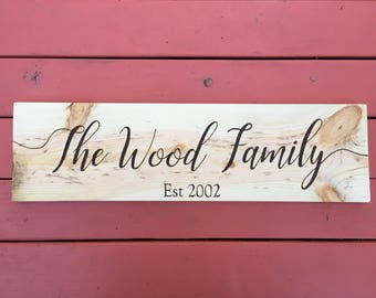 Personalized Family Name Sign - Custom Name Sign - Rustic Family Name Sign