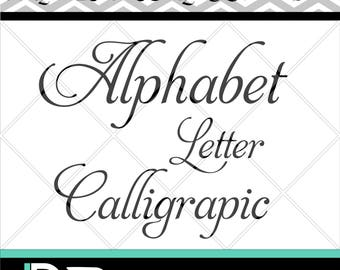 Calligraphic Alphabet svg,Letters svg, Numbers svg, Cutting Files svg, Silhouette Studio Handmade svg, Clipart svg, svg Files for Cricut,.