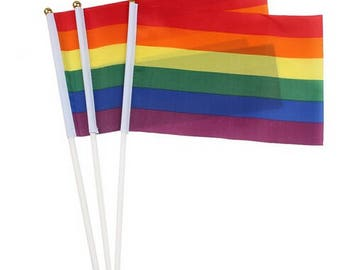 "Small LGBT Pride Desk Flag for home, dorm & office decoration, 8"" tall by 5'' wide"