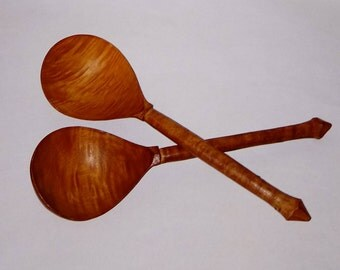 Pair of Vintage Hand Carved Wood Spoons - Rustic Wood Spoons - Deep Bowl Spoons - Brown Wood Spoons - Wood Kitchen Utensils