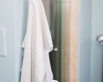 medium   gray stripe   organic cotton t-shirt hair towel