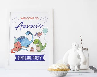 Dinosaur birthday sign Personalised, Dinosaur party sign Printable, Dinosaur sign, Dinosaur decorations Boy 1st birthday sign First birthday