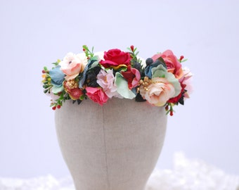 White Red flower crown Wedding flower crown Bridal flower crown Bohemian flower crown Bridal hair wreath Wedding halo Flower headband