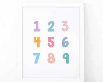 Numbers colorful, 123 print, Numbers Wall Art Set, Numbers set, Instant Download, Nursery Wall Art, 123 Wall Art, room decor, Numbers print