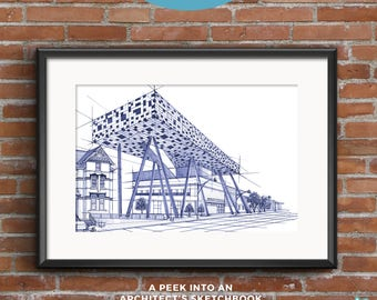 OCAD University | Blueprints | Hand-drawn sketch of an architectural icon