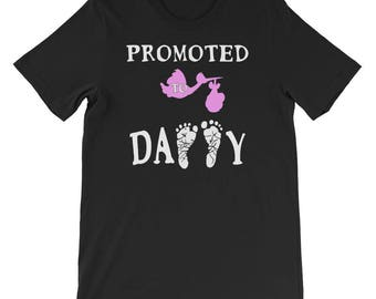 promoted to daddy t-shirt, pregnancy announcement, daddy to be, daddy promoted to dad, father to be, new daddy, Girl gender reveal