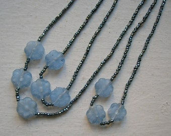 Long Beaded Blue Necklace - Opera Length Flowers and Microbeads - Pretty!