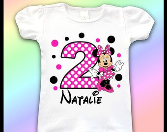Minnie Mouse Birthday Tee Shirt / 1st, 2nd, 3rd, 4th, Birthday Shirt / Minnie Mouse Birthday Shirts / Birthday Girl Shirt / Minnie Mouse 2nd