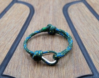 Handmade Customized Nautical Sailing Bracelet 925 Silver green blue color | Personalized Men present | Adjustable size, Unisex
