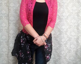 Pink Lace Jacket, Pink Lace Cardigan, Upcycled jacket, Feminine lace jacket, pink and black jacket