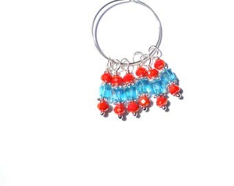 6PC Orange Sparkle and Clear Blue AB Austrian Crystal Bead Dangle Charm// AB Crystal Dangle Charms//Adorned with  Silver Tone Plated Accents